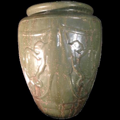 ROGER GUERIN N° 761 Animal Vase with MONKEYS stylized Art Deco, Grès de Bouffioulx 1930s