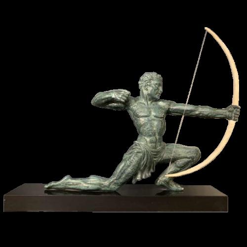 "SALVATORE MELANI "" Archer "", Art Deco Male Sculpture, Green Patina , 1930s"