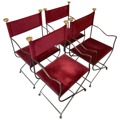 "Suite of 4 Italian SAVONAROLA "" CURULE "" Dining Chairs / Armchairs, Wrought Iron Brass 1940s"