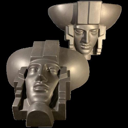 SAINT-CLEMENT, Pair of Art Deco Black Ceramic Wall Sculpture Sconces Heads Faces Women