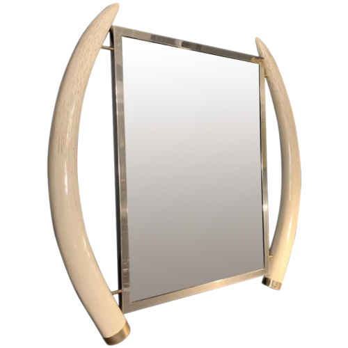 VALENTI & Co, Faux Ivory Elephant Tusk Mirror, Brass, Hollywood Regency, 1970s