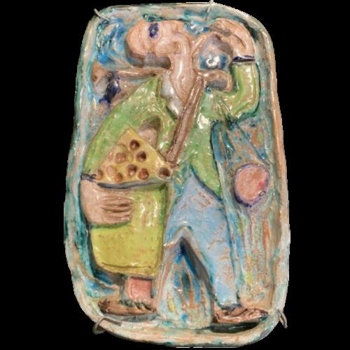 """GIOVANNI DE SIMONE """" Orange Seller """" Early Abstract Fauvist Sicilian Italian Pottery 1960s"""