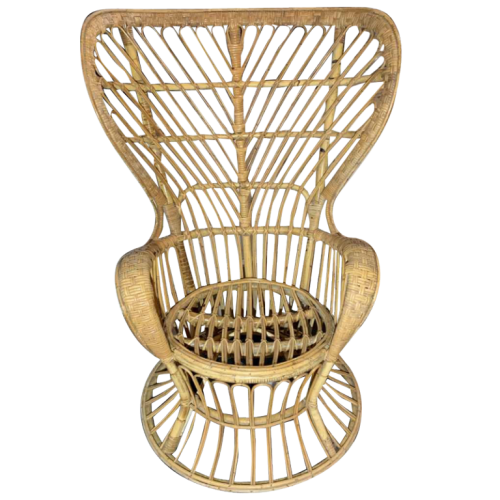GIO PONTI & LIO CARMINATI Rattan Wicker armchair 'Paquebot Conte Biancamano' Bonacina Edition 1950s