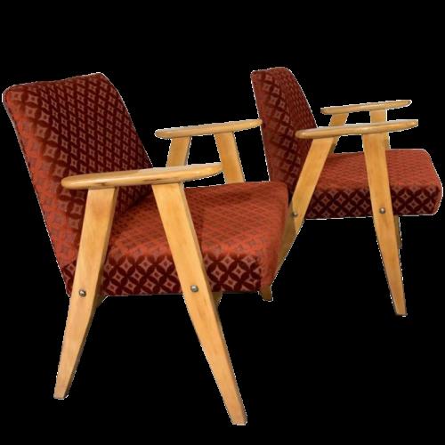 "JÓZEF CHIEROWSKI, "" 366 "" Pair of Armchairs, Velor Fabrics, mint condition, 1960s"