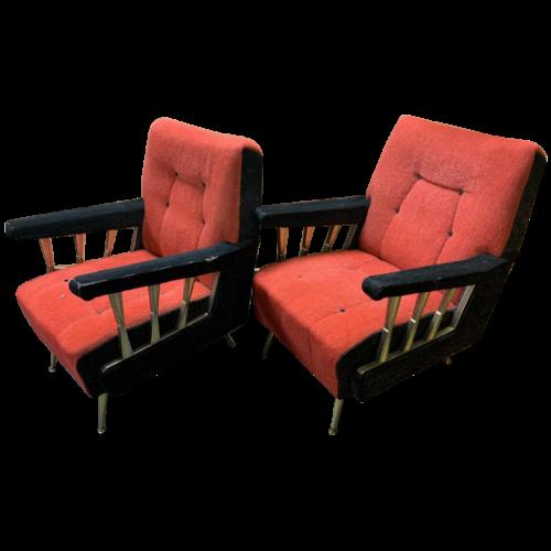 Pair of Vintage Italian Club / Armchairs, (wear on velvet armrests), 1950s