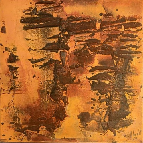 "MARIE-LOUIS LONDOT, Mixed media ""Orange"" Expressionist Abstract Painting 1964"