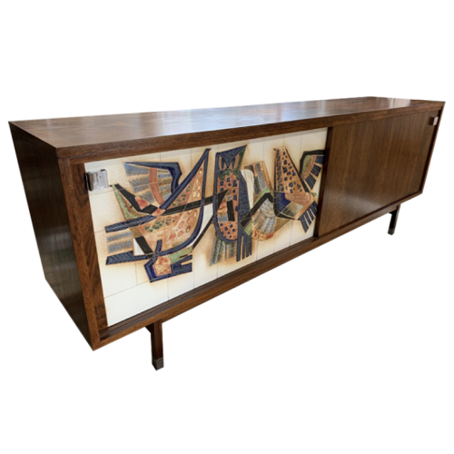 ALFRED HENDRICKX for BELFORM - Rosewood Sideboard and ceramic door, ca 1950