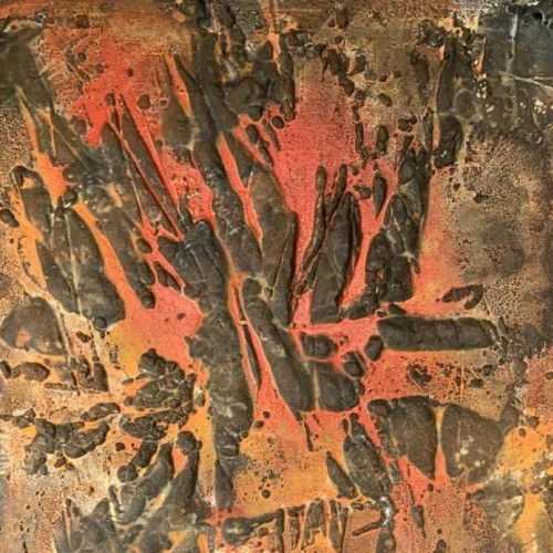 "LOUIS-MARIE LONDOT, Mixed media ""RED"" Expressionist Abstract Painting 1964"