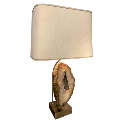 WILLY DARO, Large Agate Geode Stone Table Lamp, Bronze Brass Hollywood Regency, 1970s