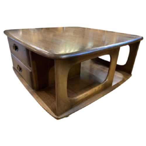 Vintage Square Coffee Table, Scandinavian Design ( drawers storage wheels ), 1950s
