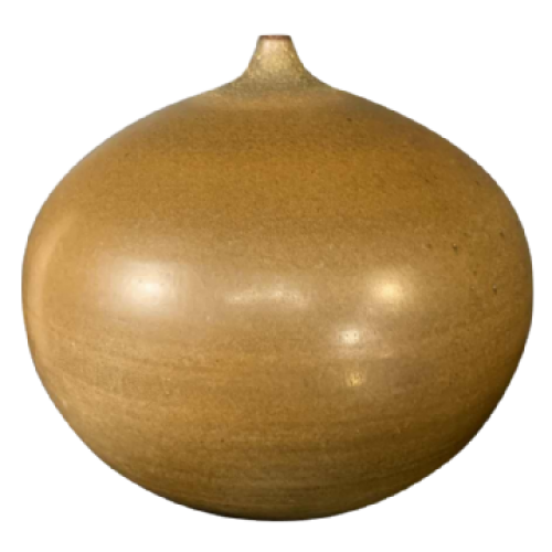 ANTONIO LAMPECCO 23cm spherical ceramic soliflore brown vase, small collar 1970s