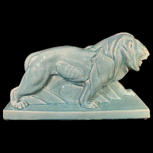 """LE JAN """"Lion Peugeot"""" Art Deco Animal Sculpture, Crackle Blue Enamel Ceramic, 1934"""