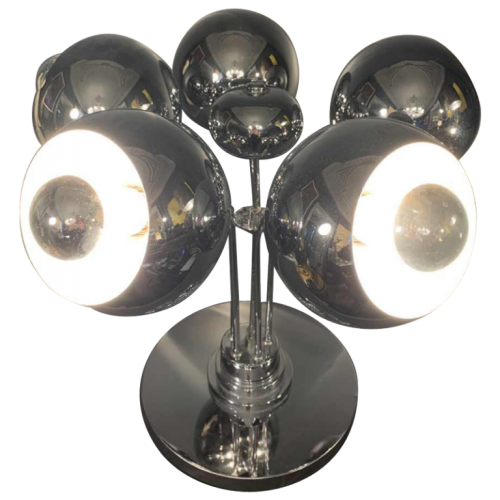"Rare Space Age ""Sputnik Eyeball"" Table Lamp, Chromed Steel, 5 Light Arms, 1970s"
