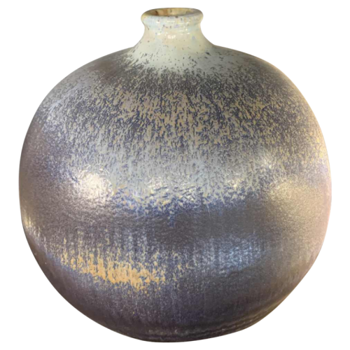 "ANTONIO LAMPECCO 45cm, Signed Large Spherical Blue ""Ball"" Ceramic Vase, 1970s"