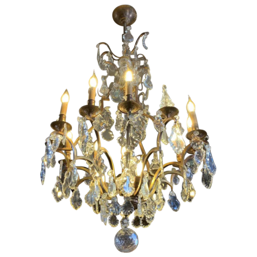 Large Cage Chandelier 53inch Louis XV Style Bronze Daggers Crystal, 19th Napoleon III