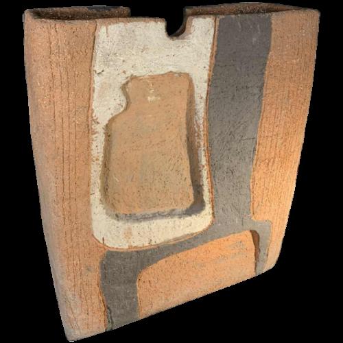 CECILE LEBRUN Belgian Ceramist, Large Brutalist Abstract Vase, Terracotta 1970s