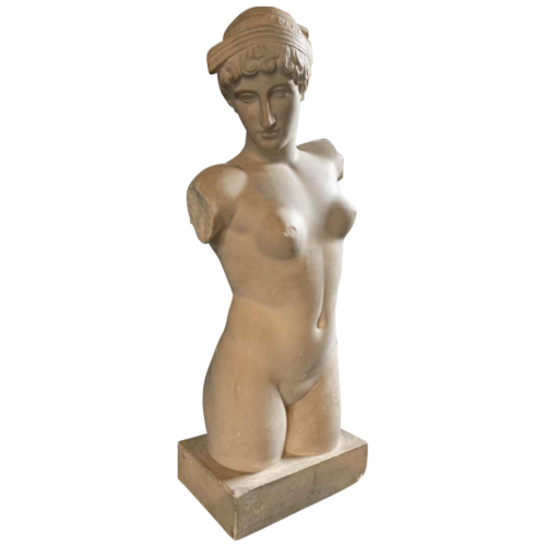 Venus of the Esquiline, Large Plaster Sculpture (35 inch) Aphrodite Naked Woman, 1940s