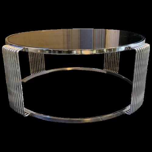 Round Chromed Steel Coffee Table, Italian Design, Vintage 1970s