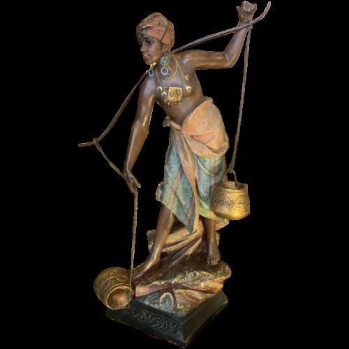 "Important Orientalist Sculpture 42inch Terracotta "" Woman Water carrier"" 19th"