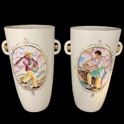 LOUIS RANDOUR Saint Ghislain, Pair of Large Unique Vases, Art Deco Ceramics 1930s