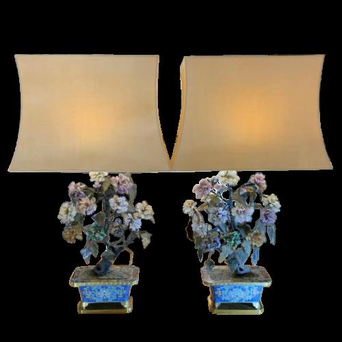 Pair of Bronze Enamel Cloisonné Planters / Lamps, China Qing Dynasty