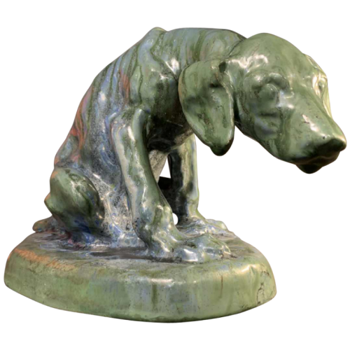 DOMIEN INGELS & ROGER GUERIN, Sculpture Hunting Dog Braque, Stoneware Bouffioulx 1920s