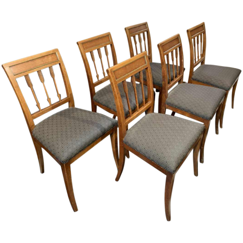 Series of 6 Etruscan Directoire d'Epoque chairs, mahogany, Georges Jacob Style, ca 1800
