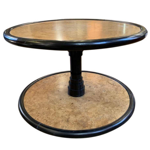 DE COENE FRERES (attributed) Round Rotating Art Deco Coffee Table, Maple Burl & Ebony, ca 1925