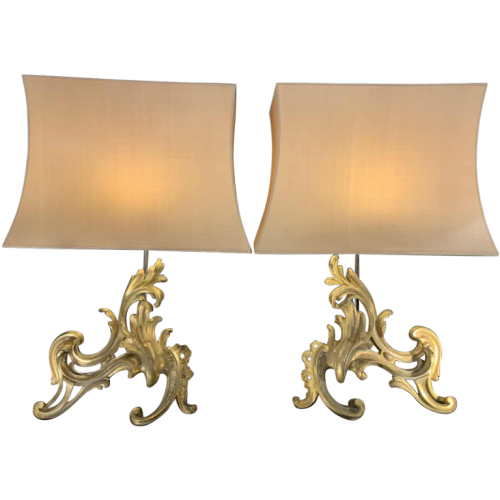 Pair of Large Louis XV Rocaille Chenets Andirons Firedogs Table Lamps, Ormolu Gilt Bronze, 18th Century