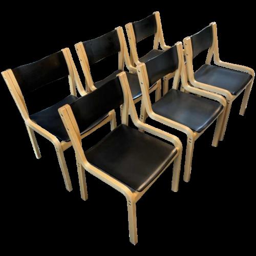 KARI ASIKAINEN for Korhonen Finland Set 6 Scandinavian 1st edition Chairs, 1970s