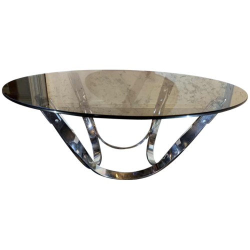 ROGER SPRUNGER for DUNBAR, Coffee / Lounge Table, Twisted Chromed Steel, 1970s