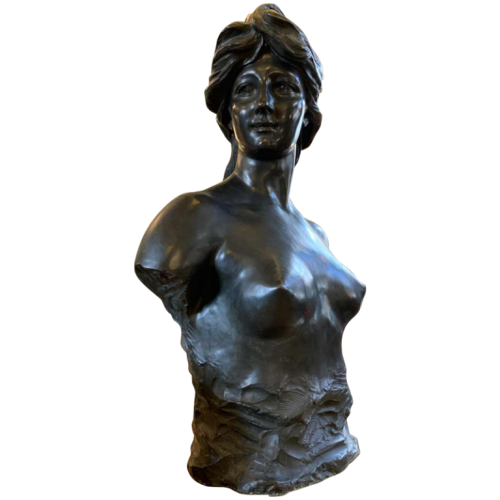 JEF LAMBEAUX, Large Bust (29 inch) of a Naked Woman Sculpture in Bronze, 1890