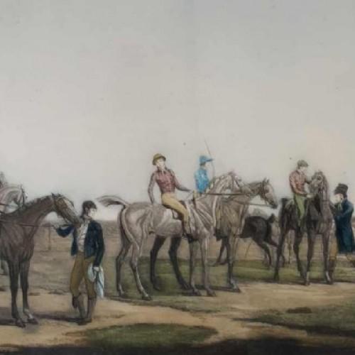 CARLE VERNET 'Départ d'une Poule de sept chevaux' antique equestrian engraving 19th