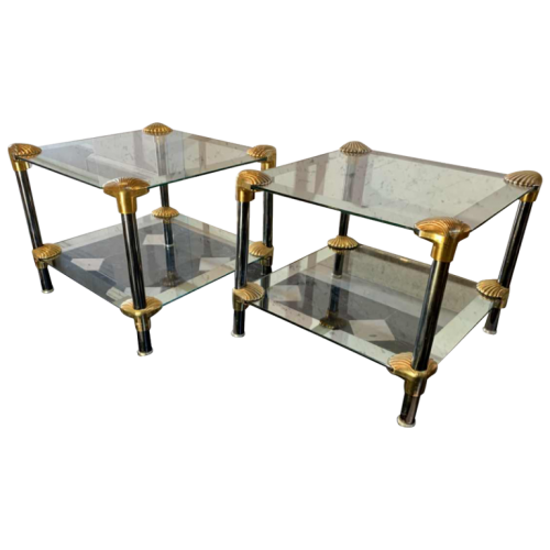 Pair of Hollywood Regency Style 'Seashell' Coffee Tables / Bedsides, 1970s