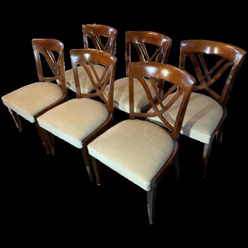 DE COENE Frères (Savarin stamped), model 'Paris Brillat' - Set of 6 Art Deco Mahogany Chairs, 1938