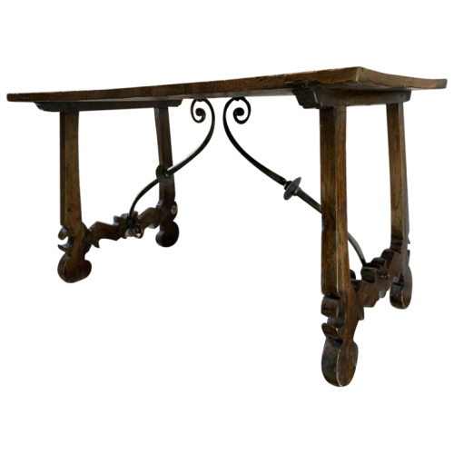 Spanish walnut table desk with Lyre legs, wrought iron volute stretcher, 19th century