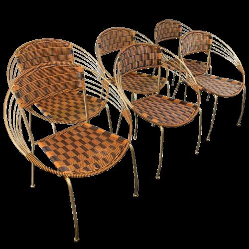 Série de 6 Fauteuils ' Patio Scoubidou' de Jardin, Design Italiens Vintage, 1950s