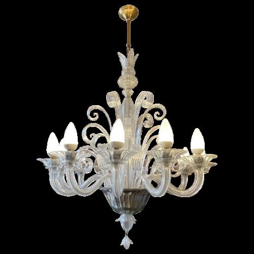 BAROVIER & TOSO / MURANO, Venetian glass chandelier, 12 light arms, 1970s
