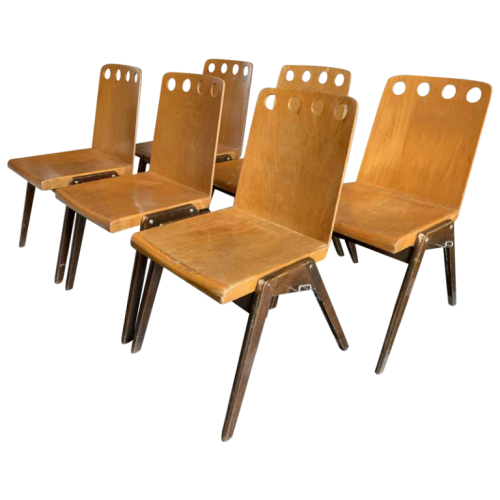 ROLAND RAINER for EMIL & ALFRED POLLAK, Set of 6 Industrial Modernist Staking Chairs, 1950s