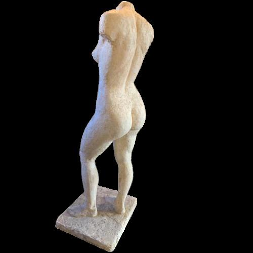 HERBERT GELDHOF, Life-Size Sculpture Naked Woman, Unique Workshop Plaster, 1950s