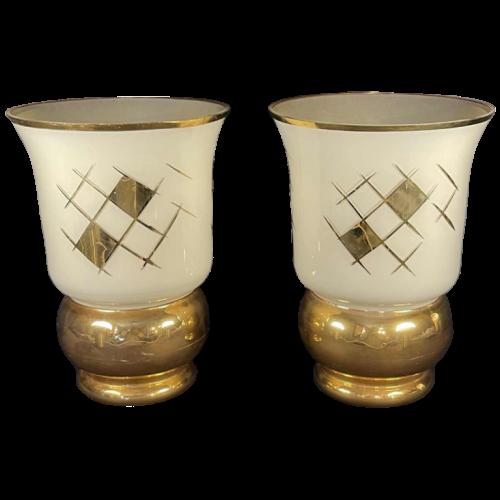 Verreries de Laeken, Pair of Vases, Art Deco Golden Sandblasted Glass, ca 1935