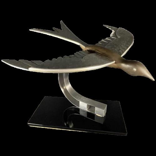 """Art Deco Animal Sculpture """" Bird """" Aluminum / Steel / Bronze, ca 1930s"""