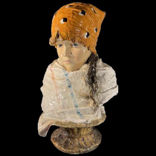 Sansebastiano & Moreno, Female Bust, Art Nouveau Ceramic Sculpture, ca 1890