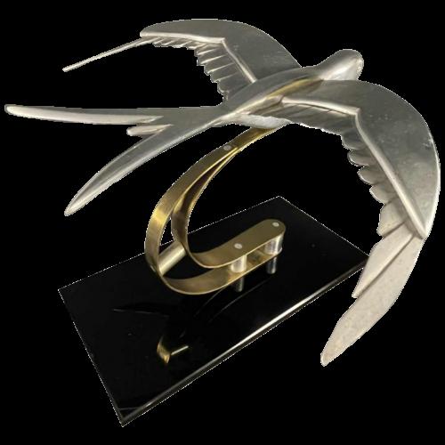 """Sculpture Animalière Art Déco """" Oiseau """" Aluminium / Laiton / Acier, ca 1930s"""