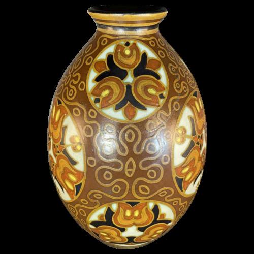 VITTORIO BONUZZI for CHARLES CATTEAU BOCH KERAMIS, Art Deco Vase D1093 F975, ca 1935