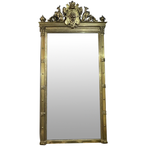 Large golden fireplace mirror, wood and stucco, Napoleon III period, ca 1890