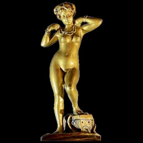 "Orientalist Vienna Bronze, Sculpture ""Naked Woman"" 951/25 Art Nouveau, ca 1900"