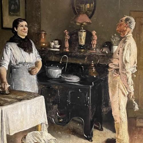 """PIET NEUCKENS """" Interior Scene. """" Painting, Oil on Panel, 19th century"""