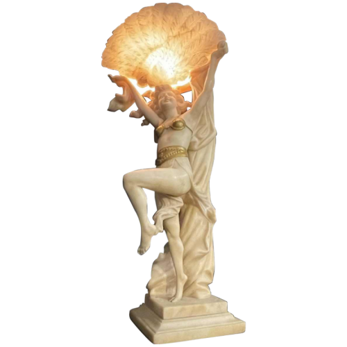 O. ROSSI, Oriental Dancer, Art Deco Alabaster Woman Lamp / Sculpture,1920s