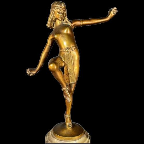 ALONZO for EDMOND ETLING, Egyptian Dancer Cleopatra Sculpture Art Deco Bronze, 1920